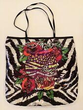 Ed Hardy FRANCESCA Zebra Sequins, Handbag, Skull with Roses Tote, Bag