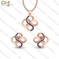 Rose Gold Engagement Pendant Set With Stud Earrings Infinity Pendant Set Jewelry