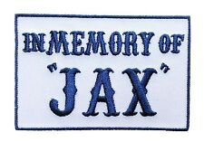 IN MEMORY OF JAX Outlaw EMROIDERED 3.0 inch nvy blue BIKER PATCH BY MILTACUSA