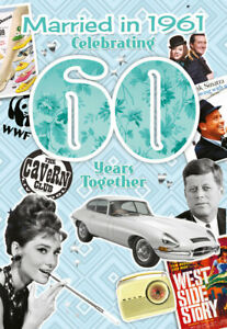 Diamond 60th Wedding Anniversary Card Married in 1961 with historic facts Inside