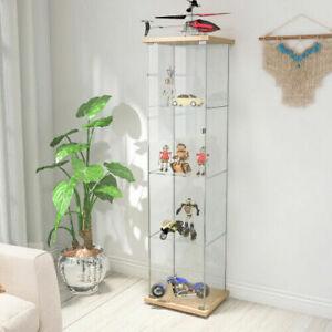 4-Shelf Glass Curio Display Cabinet Rectangular Cabinet Bookshelf Storage USA