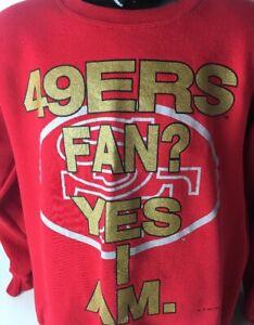 VTG San Francisco 49ers Sweatshirt Nutmeg 1993 Sz L Made In USA Logo Spellout