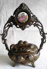 Antique Victorian Vanity Box Brass Jewelry Trinket Stand Cherub Floral Cameo