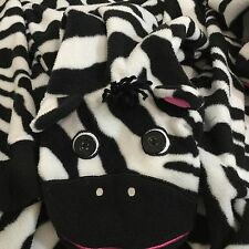 Nick & Nora Footie Pajamas Zebra One Piece Footed PJs Fleece Sleepwear Sz XL