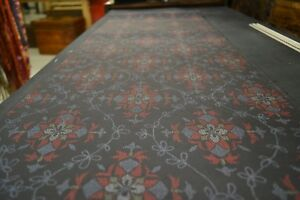 Japanese Silk Fabric Black with Blue, Green, and Red Floral Design 1520
