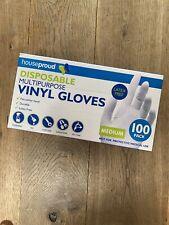 Box of 100 Vinyl Disposal Gloves Powder&Latex free, Size Medium