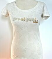 Desigual Tee Shirt Womens Cream Gold Embroidered & Sequins Short Sleeve Top S 10