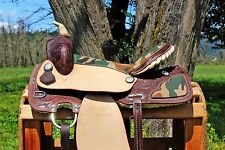 "16"" ROUGH OUT CAMO WESTERN LEATHER COWBOY TRAIL BARREL SHOW HORSE SADDLE TACK"
