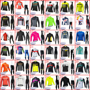 Winter Mens Cycling Thermal Fleece Jersey Long Sleeve Bib Pants Set Bike Uniform