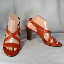 "Via Spiga 9 M Orange Leather Sandals Strappy Open Toe Slingback 4"" Heels"