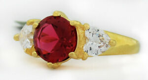 RUBY 2.08 Cts & WHITE SAPPHIRES RING 14K Yellow Gold Plated * NWT * SIze 6