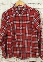 Lee Riders fleece button front shirt womens large red plaid long sleeve top D1