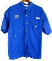 Mens Columbia PFG MTSU Raiders Large Blue Short Sleeve Vented Button Up Shirt