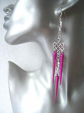 Very Long Pink Spike Skull Earrings - Emo Goth Punk Rock Chick Shoulder Dusters