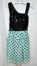 Beautees CHIC Dressy Holiday Black Sequins Polka Dot Girls Skaters Dress 12