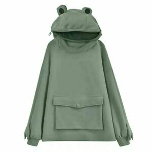 Cute Zipper Mouth Frog Hoodie Sweatshirt Long Sleeve Hooded Pullover Tops Women