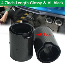Black Stainless Steel + Carbon Fiber Tip Exhaust Pipe 2.5'' Inlet 3.6'' Outlet