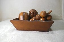 wooden bowl and wooden fruits