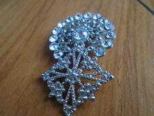 Silver Coloured Metal Round Top With Diamond Shape Brooch With White Stone's