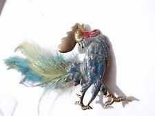 Antique Edwardian Cold Painted Bronze Cockerel Brooch