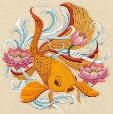 Japanese Goldfish  SET OF 2 BATH HAND TOWELS EMBROIDERED BY LAURA