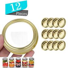 12 Gold Mason Jar Canning Lids Rust Resistant Replacement  Screw Bands Ringsjca