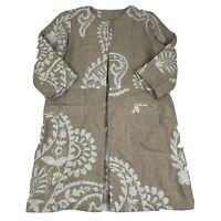 Chico's Women's Size 0 (Small) Blazer Beige Paisley Print Duster Length Linen