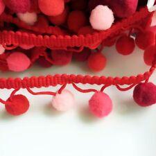 Rainbow Pom Pom Trim, Baby 15mm Fringe, Bobble Ribbon, Shade of Red Colour