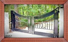 Ornamental Iron Driveway Entry Gate 12ft Wide Dual Swing. Handrails, Fence Bed