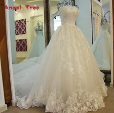 Angel Tree Vintage Ball Gown Strapless Lace Appliques Lace Organza Wedding Dress
