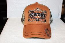 COWBOY BOOTS HAT HORSESHOE STAR BASEBALL CAP ( CAMOUFLAGE & BURNT ORANGE )