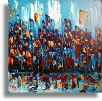 Original Oil PAINTING CITYSCAPE  Abstract Modern  ON CANVAS   IMPRESSIONIST REWE