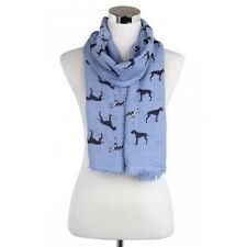 More details for great dane dog print ladies scarf available in blue, grey & white decorative hem