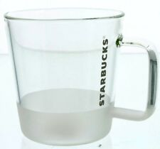 Starbucks 2016 Clear Glass Coffee Drink Cup Mug with Frosted Bottom, 12 oz.