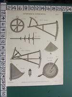 1816 Datato Antico Stampa Astronomico Strumenti Quadrante Cross Staff Stella