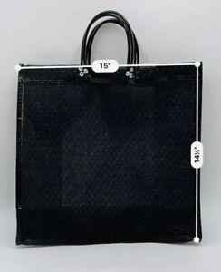 """Mexican Market Mesh Bag Rausable Tote Bolsa De Mercado 15"""" Black"""