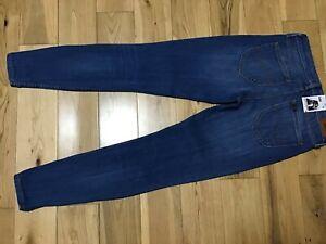 "Designer LEE Scarlett Cropped Ladies Blue Stretch Skinny Jeans Size 27""W, 33L"