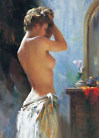 LMOP583 portrait half naked girl clean up in enening art oil painting canvas