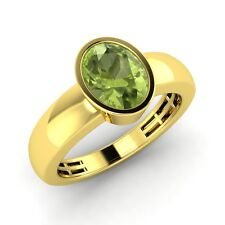 Men's 10k Solid Yellow Gold 1.19 ct Oval cut Natural Peridot Wedding Band Ring