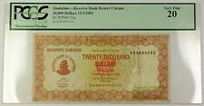 15.9.2003 Zimbabwe Reserve Bank Bearer Cheque $20,000 Note SCWPM# 23a PCGS VF-20