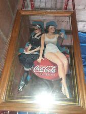 Antique VINTAGE Coca Cola 1886-1936 50th Anniversary mirror sign advertisement