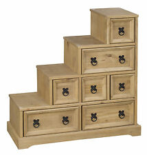 Corona Accessories CD Storage Cube Box Drawers Staircase Light Waxed Solid Pine