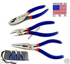 "Pro America Kal Tool 3pc 6"" Plier Set Long Nose Slip Joint Side Cutter Dikes USA"