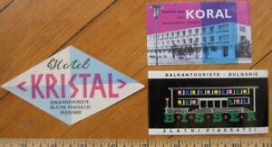 Zlatni Piassatzi - Bulgaria THREE Hotel Luggage Labels - 1