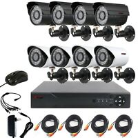 CCTV 4CH Outdoor Home Surveillance Security Camera System AHD DVR Wired Kit US