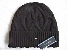 TOMMY HILFIGER CHUNKY KNIT WOOL Black BEANIE ETON Tuque Mutze Hat NEW WITH  TAGS 3db0a20a53ec