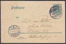 German Reich 1905 ☀ Germania 5 Pf. stationery postcard ☀ Wollstein - Posen W.