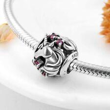 Unicorn Round Charm 925 Sterling Silver Bead Bracelet Fantasy Horse Pony Red CZ
