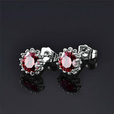 Garnet Red 18ct White Gold filled flower shaped stud earrings Round crystal red