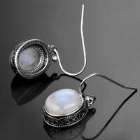 Vintage 925 Sterling Silver Natural Moonstone Drop Dangle Hook Handmade Earrings